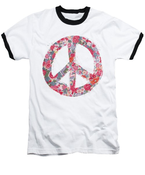 Baseball T-Shirt featuring the digital art Far Too Pretty Peace Symbol #1 by Nola Lee Kelsey