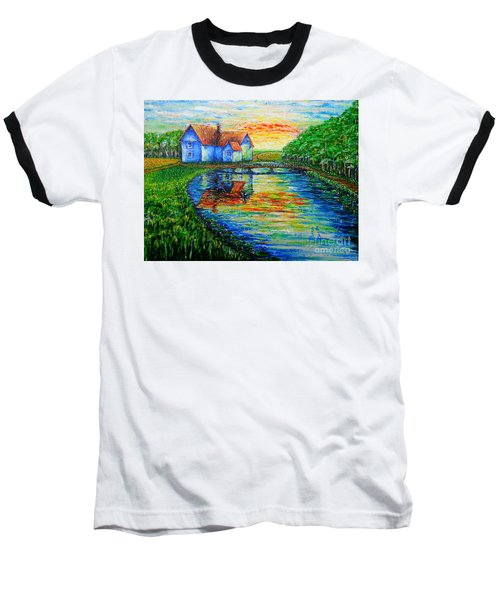 Baseball T-Shirt featuring the painting Farm House by Viktor Lazarev