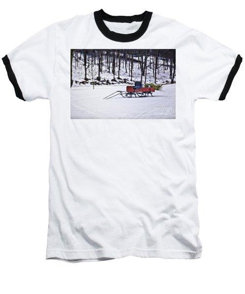 Farm Sleigh Baseball T-Shirt by Nicki McManus