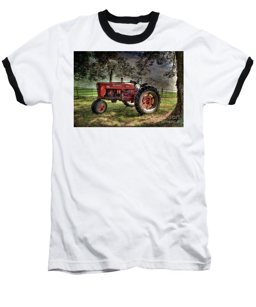 Farmall In The Field Baseball T-Shirt by Michael Eingle