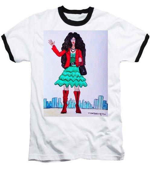 Fashionist Hailing A Taxi Baseball T-Shirt by Don Pedro De Gracia