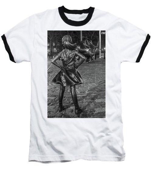 Fearless Girl And Charging Bull Nyc Baseball T-Shirt