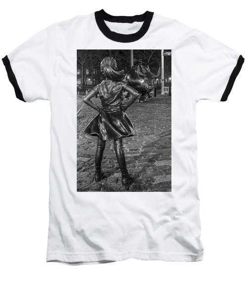 Fearless Girl And Charging Bull Nyc Baseball T-Shirt