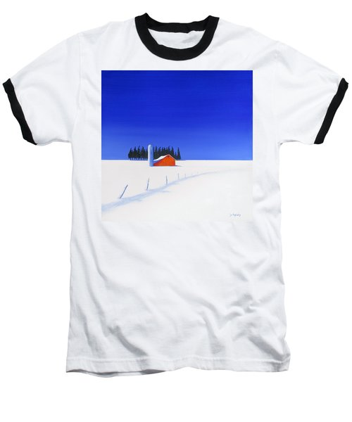 Baseball T-Shirt featuring the painting February Fields by Jo Appleby