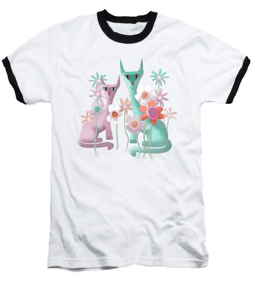 Felines In Flowers Baseball T-Shirt