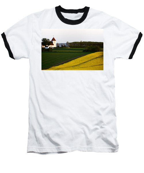 Femoe Fields And Church Baseball T-Shirt by Eric Nielsen