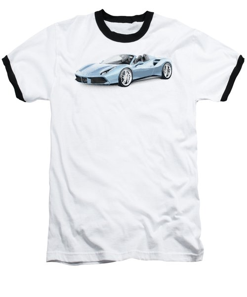 Ferrari 488 Spider - Parallel Hatching Baseball T-Shirt