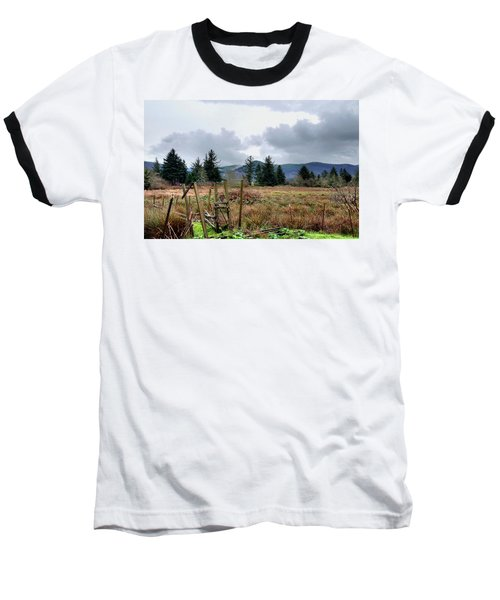 Field, Clouds, Distant Foggy Hills Baseball T-Shirt