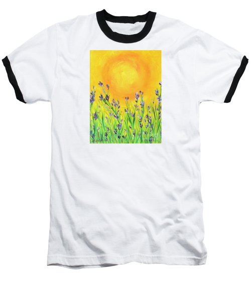 Baseball T-Shirt featuring the painting Field Sunset by Val Miller