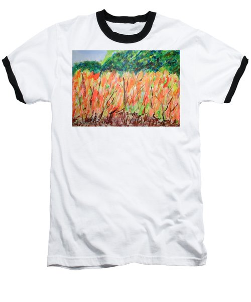 Baseball T-Shirt featuring the painting Fiery Bushes by Esther Newman-Cohen