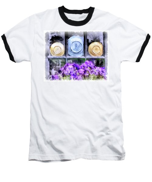 Fiestaware Window Display With Pansies Baseball T-Shirt by Betty Denise