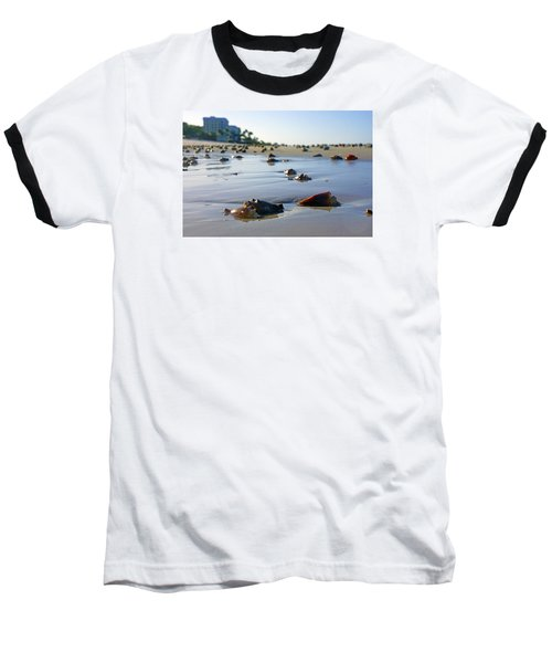 Baseball T-Shirt featuring the photograph Fighting Conchs On The Beach In Naples, Fl by Robb Stan