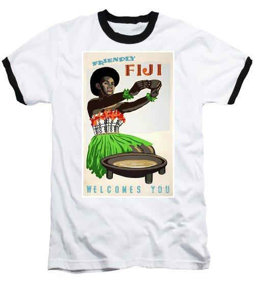 Fiji Restored Vintage Travel Poster Baseball T-Shirt