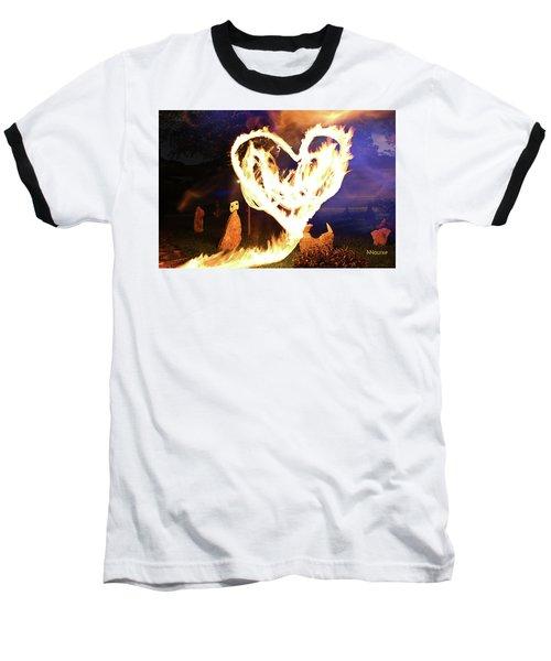 Fire Heart Baseball T-Shirt by Andrew Nourse