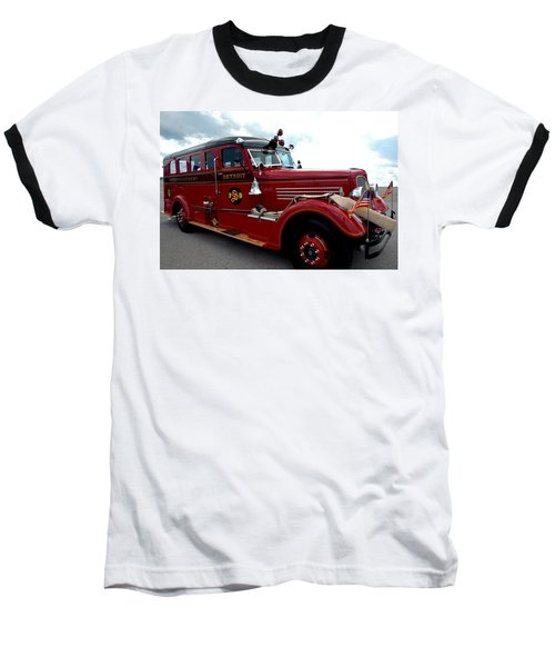 Fire Truck Selfridge Michigan Baseball T-Shirt