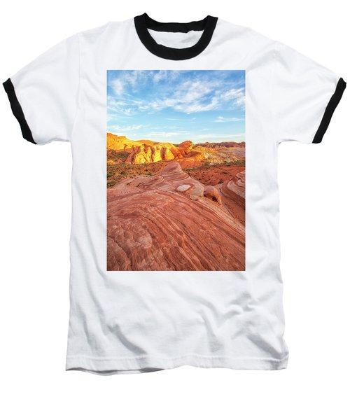 Fire Wave In Vertical Baseball T-Shirt