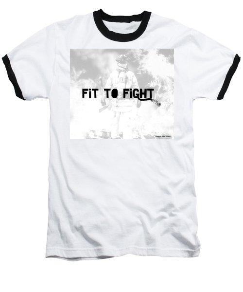 Fireman In White Baseball T-Shirt by Megan Dirsa-DuBois