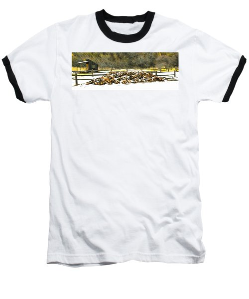 Baseball T-Shirt featuring the photograph  Floyd Snyder by Firewood in the Snow at Fort Tejon