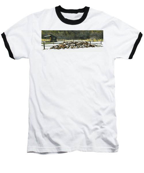 Baseball T-Shirt featuring the photograph Firewood In The Snow At Fort Tejon by Floyd Snyder