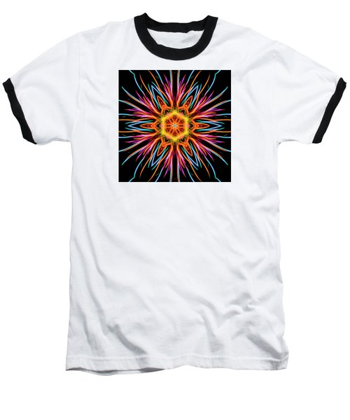Fireworks Mandala #1 Baseball T-Shirt by Yulia Kazansky