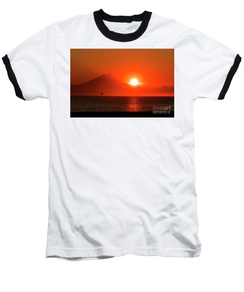 Firey Sunset On Mt Redoubt Volcano Alaska Baseball T-Shirt