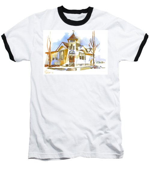 Baseball T-Shirt featuring the painting First Baptist Church In Winter by Kip DeVore