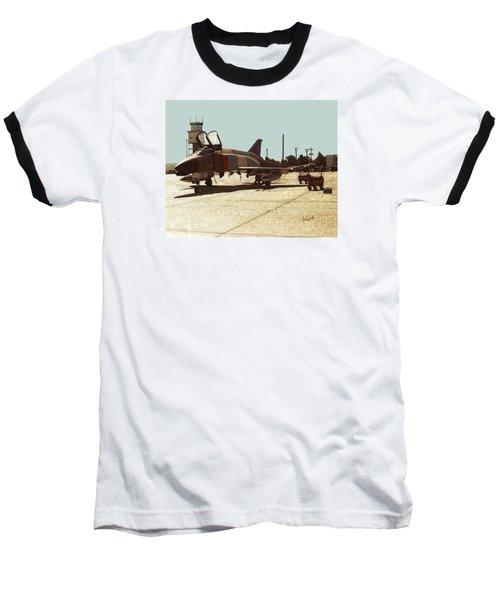 Baseball T-Shirt featuring the digital art First Jet by Walter Chamberlain