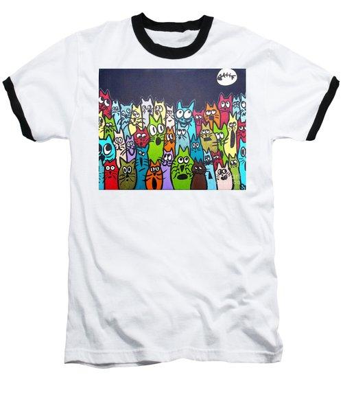 Fish Moon Cats Baseball T-Shirt