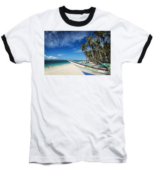 Fishing Boat On Puka Beach Tropical Paradise Boracay Philippines Baseball T-Shirt