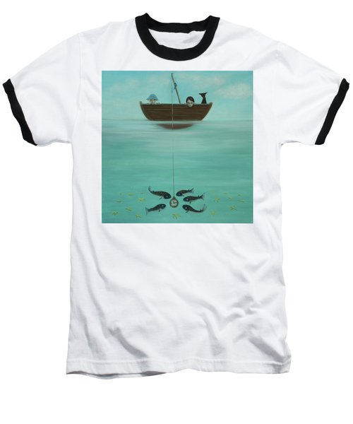 Baseball T-Shirt featuring the painting Fishing For Time by Tone Aanderaa