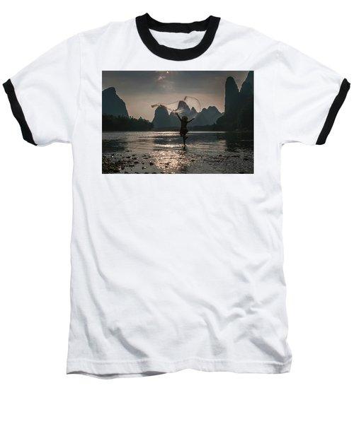 Fisherman Casting A Net. Baseball T-Shirt