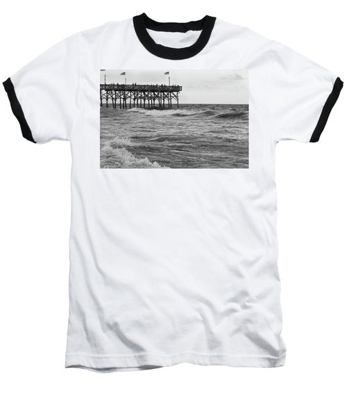 Baseball T-Shirt featuring the photograph Fishing Off The Pier At Myrtle Beach by Chris Flees