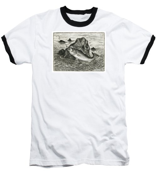 Baseball T-Shirt featuring the photograph Fishing The Rocks by Charles Harden