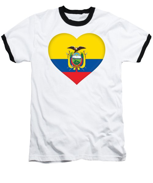 Flag Of Ecuador Heart Baseball T-Shirt