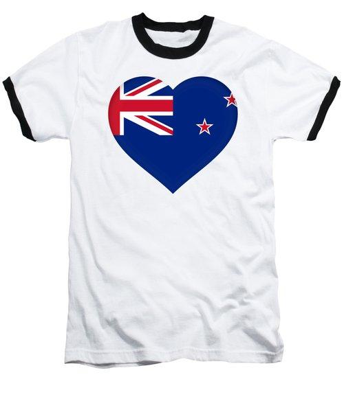 Flag Of New Zealand Heart Baseball T-Shirt by Roy Pedersen