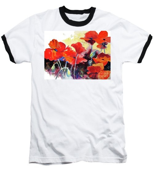 Baseball T-Shirt featuring the painting Flaming Poppies by Kathy Braud