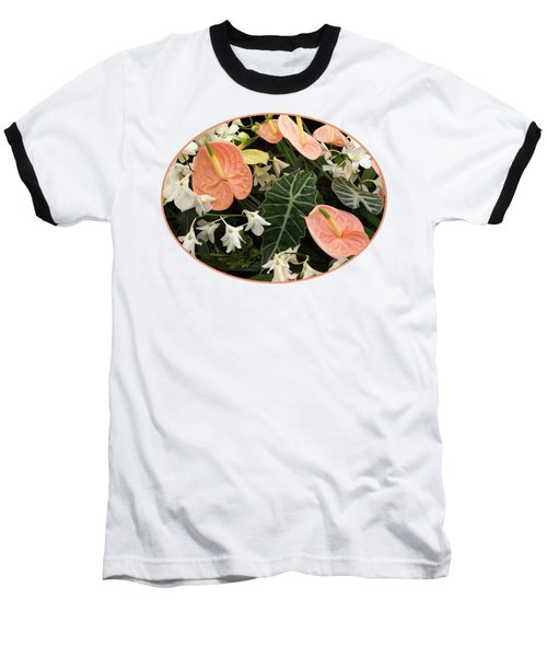 Flamingo Flowers And Orchids Baseball T-Shirt