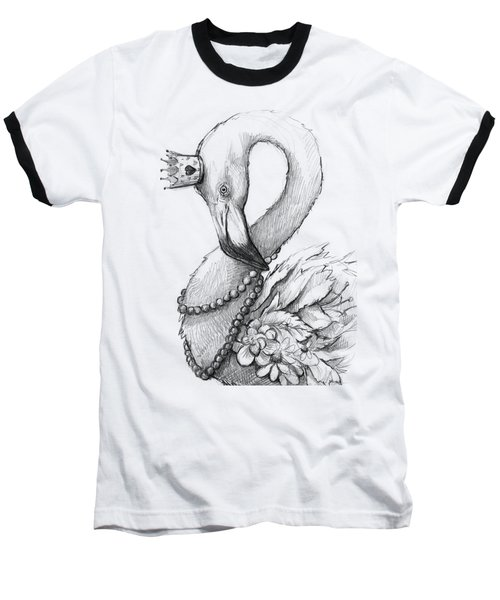 Flamingo In Pearl Necklace Baseball T-Shirt