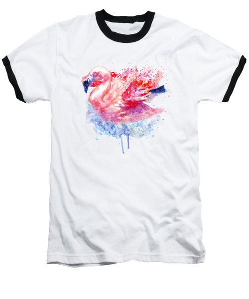 Flamingo On The Water Baseball T-Shirt by Marian Voicu