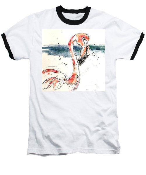 Flamingo Pool Baseball T-Shirt