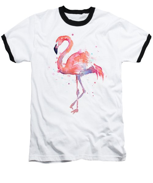 Flamingo Watercolor Baseball T-Shirt