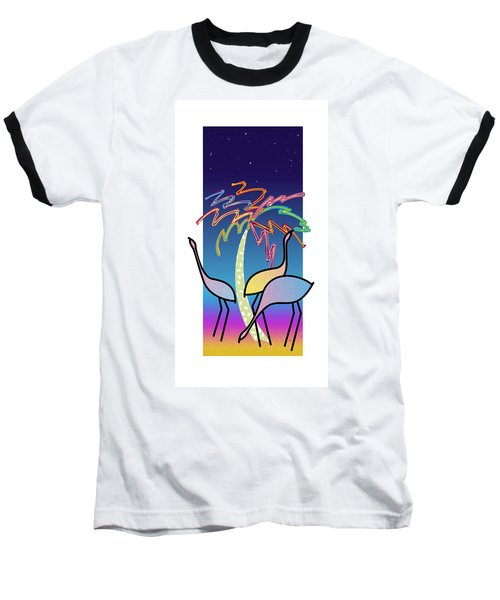 Flamingos Baseball T-Shirt by Steve Ellis