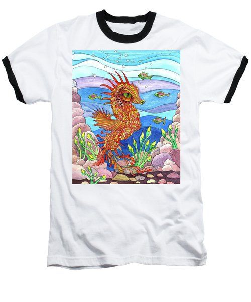 Flashy Swimmer And Fishes Baseball T-Shirt