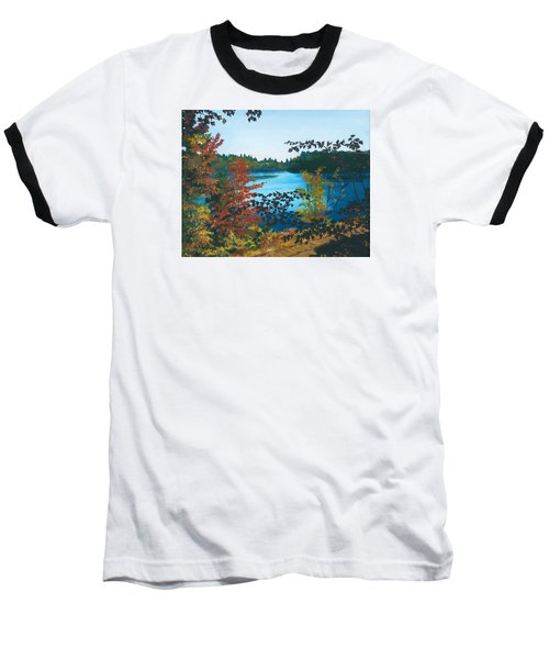 Baseball T-Shirt featuring the painting Floodwood by Lynne Reichhart