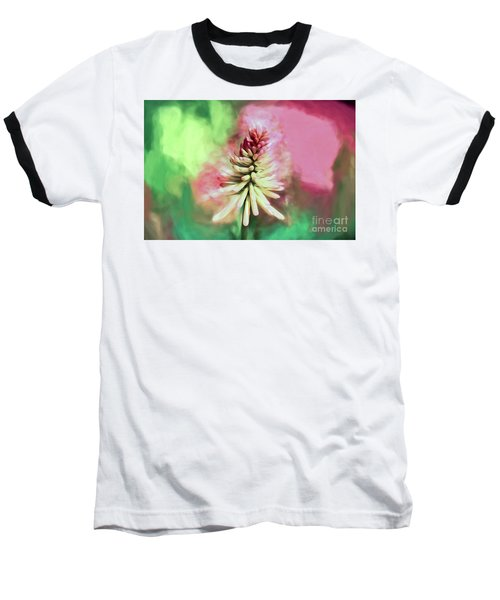 Baseball T-Shirt featuring the photograph Floral Art - Red Hot Poker by Kerri Farley
