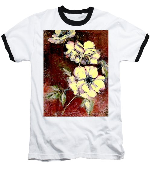 Floral Watercolor Painting Baseball T-Shirt by Merton Allen