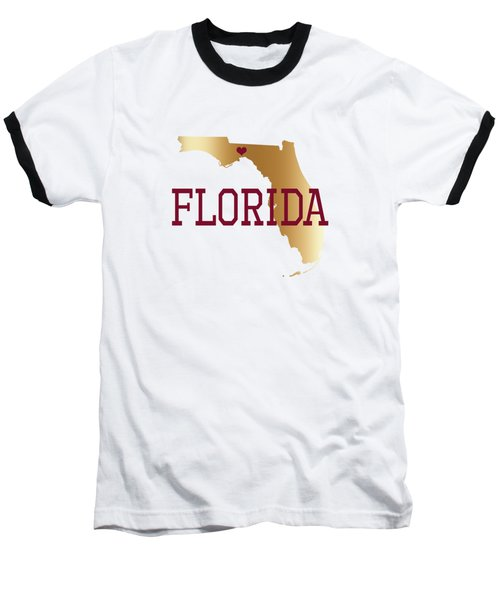Florida Gold And Garnet With State Capital Typography Baseball T-Shirt