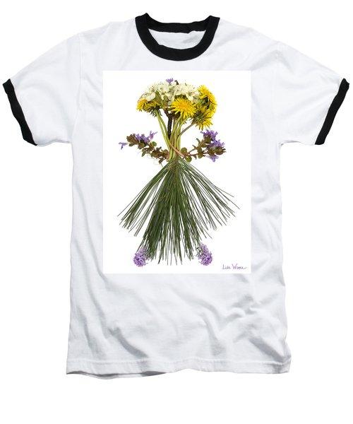 Flower Head Baseball T-Shirt by Lise Winne