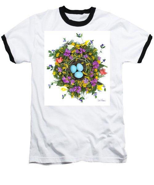 Flower Nest Baseball T-Shirt by Lise Winne
