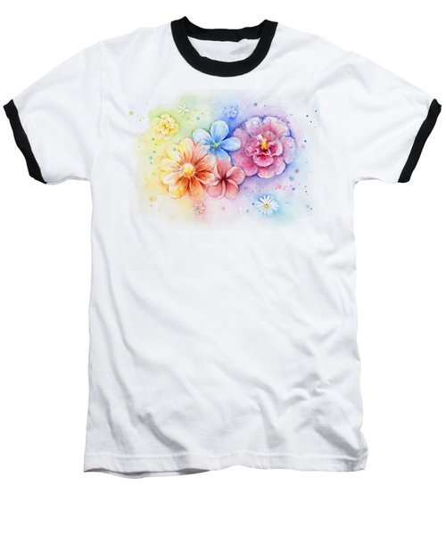 Flower Power Watercolor Baseball T-Shirt by Olga Shvartsur